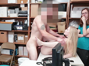 Blonde babe punished for theft