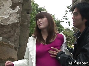 Nicely shaped Japanese bit of San Quentin quail Sayo Hayakawa gets masturbated outdoors hard