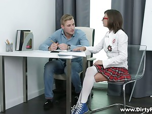 Shy student Sandra Wellness takes a chunky cock here her tight teen pussy