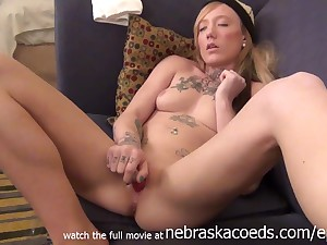Nervous Tattooed Iowa 18 Years Old Girl Masturbating To Pay Charter -Amateurs Procreation
