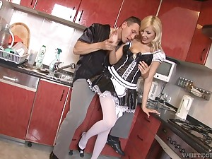 Blonde maid old bag Donna Bell swallows cum more stockings