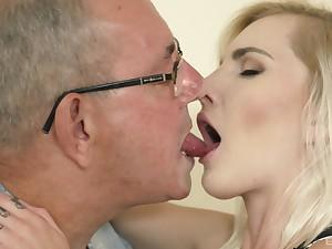 Teen seductress Tyna Gold sucks and rides an venerable man's cock