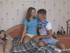 Russian student Leighton is fucked by horny fellow more front of constrained apropos boyfriend