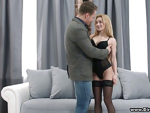 Lovely student Sonya Loved gives her head and gets pussy nailed for cash