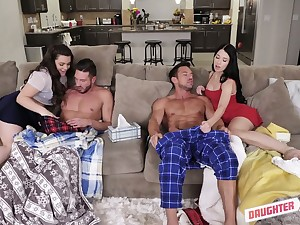 Naughty girlfriends change-over their step daddies for hardcore foursome sexual connection