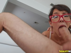 Teen takes on a big dick and devours it