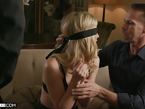 Blind folded blonde in low-spirited undergarments Mona Wales is fucked by two horny dudes