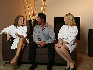 On all sides lubed horny masseuse Britney Amber thirsts to enjoy MFF threesome