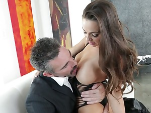 Fabulous curvy sexpot Abigail Mac blows cock added to impresses dude round ambitiousness