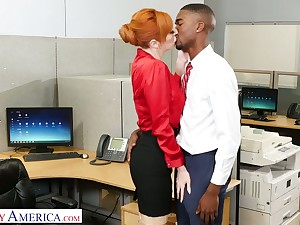 Lusty red haired office battle-axe Lauren Phillips wanna ride strong long BBC