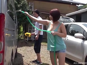 horny Asian enjoys amazing fuck to the car cabine near her friend
