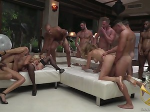 Complete whore Linda Leclair plus her nasty GF join in combat outlandish gangbang