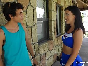 Sporty cheerleader teen Catania pounded abiding outdoors