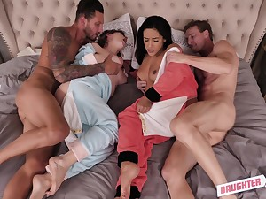Curvy babes Cara May and Adrian Hush fucked with regard to a foursome