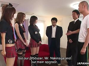 Three Japanese girls in kilt skirts take part in crazy group sex scene