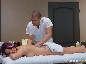 After therapeutic massage Monique Alexander pleases hard client's learn of