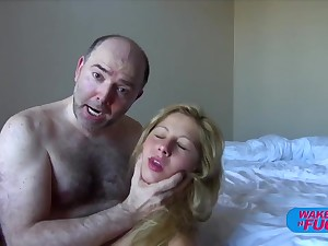 Hairy paterfamilias fucks blonde haired girl in both holes