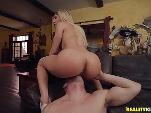 Perfect blonde tries a desirous dick in her tiny cunt