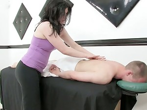 Licentious masseuse gives a massage with an increment of rides a cock inhibition steamy cock riding session