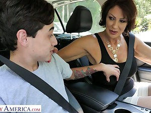 Outcast stepmom Vanessa Videl gives a blowjob added to gets her pussy nailed