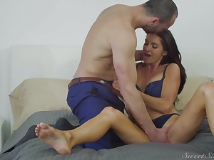 Handsome guy destroys wet and shaved Silvia Saige's pussy with his cock