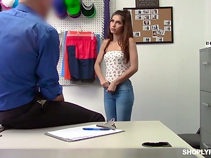 Shoplifting chick Gianna Gem is fucked and punished by one well endowed ray