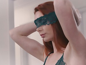 Astonishing blindfolded redhead Lacy Lennon is fucked doggy style