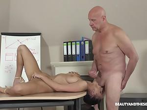 Senior man fucks her fresh pussy then cums on her big tits