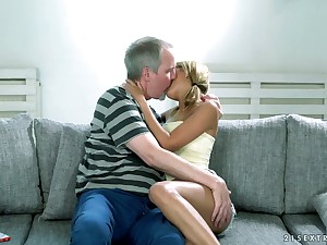 Beautiful auric babe Sarah Cute gets will not hear of pussy licked and fucked by elderly man