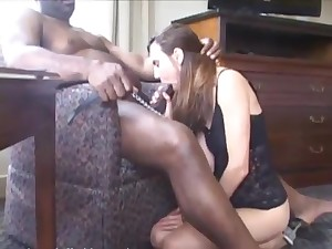 Amateur interracial step with brunette attendant and black hung