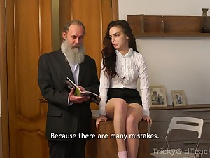 Unshaven old teacher fucks pretty sophomore student Milana Kill