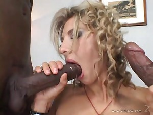 Kirmess cowgirl double penetrated in a wild interracial porn