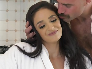 Sheena Ryder and Jaye Summers fucked by the lucky dude on the bed