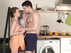 Young Russian wife Nelya is loosing the brush abstinence in the larder