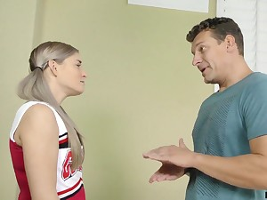Pretty and wild cheerleader fucks her stepdad at his place