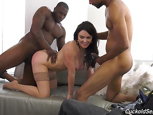 Busty brunette Krissy Lynn fucked by two black guys in sketch of her BF