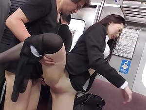 Japanese Office Lady Fucked On A Crowded Train Overwrought A Pervert