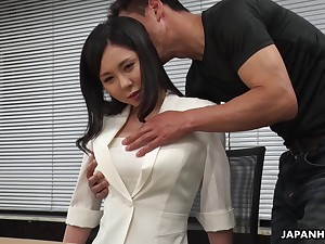 Modest Asian girl Miyuki Ojima is fucked and creampied by sultry co-worker