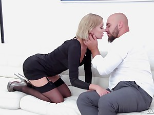 Slender blonde in stockings Elen Million is fucked by hot bearded guy