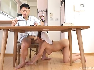 Morning sex with the busty Japanese cleaning laddie